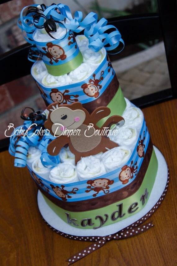 Monkey Diaper Cake | Monkey Diaper Cake Centerpiece | Monkey Boy Diaper Cake | Monkey Boy Baby Shower | Monkey Baby Shower | It's a Boy