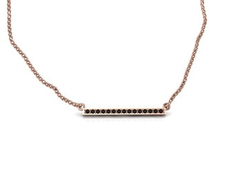 Delicate 14K Rose Gold bar necklace with Black Diamonds
