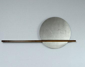 """Rise/Set Mirror, 24"""" round mirror and solid wood shelf, Mirror on RIGHT Side"""