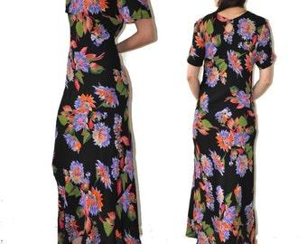 SALE___Vintage Black Floral Long Maxi Dress