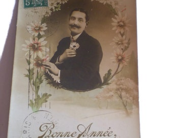 French Vintage Postcard . 1910's Card .  Bonne Année . Vintage Postcard . Old Postcard . Daisy Postcard . Man Postcard .