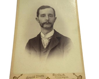 Antique Picture Card of a Victorian Gentleman . Antique Studio Picture . Vintage Real Photocard .