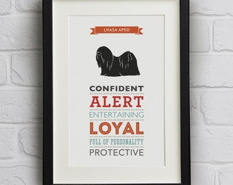 Lhasa Apso Dog Breed Traits Print