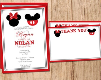Mickey Mouse . Minnie Mouse .  Printable Birthday Invitation and Matching Blank Thank You