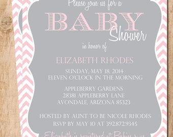 Girl Chevron Baby Shower Invitation  . Printable Invitation . JPEG or PDF File