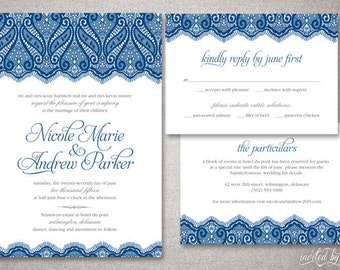 "Vintage Lace ""Nicole"" Wedding Invitation Suite - Romantic Vintage Elegant Invite - Custom DIY Digital Printable or Printed Invitations"