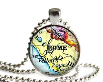 Rome map necklace vintage Italy atlas custom world travel jewelry.