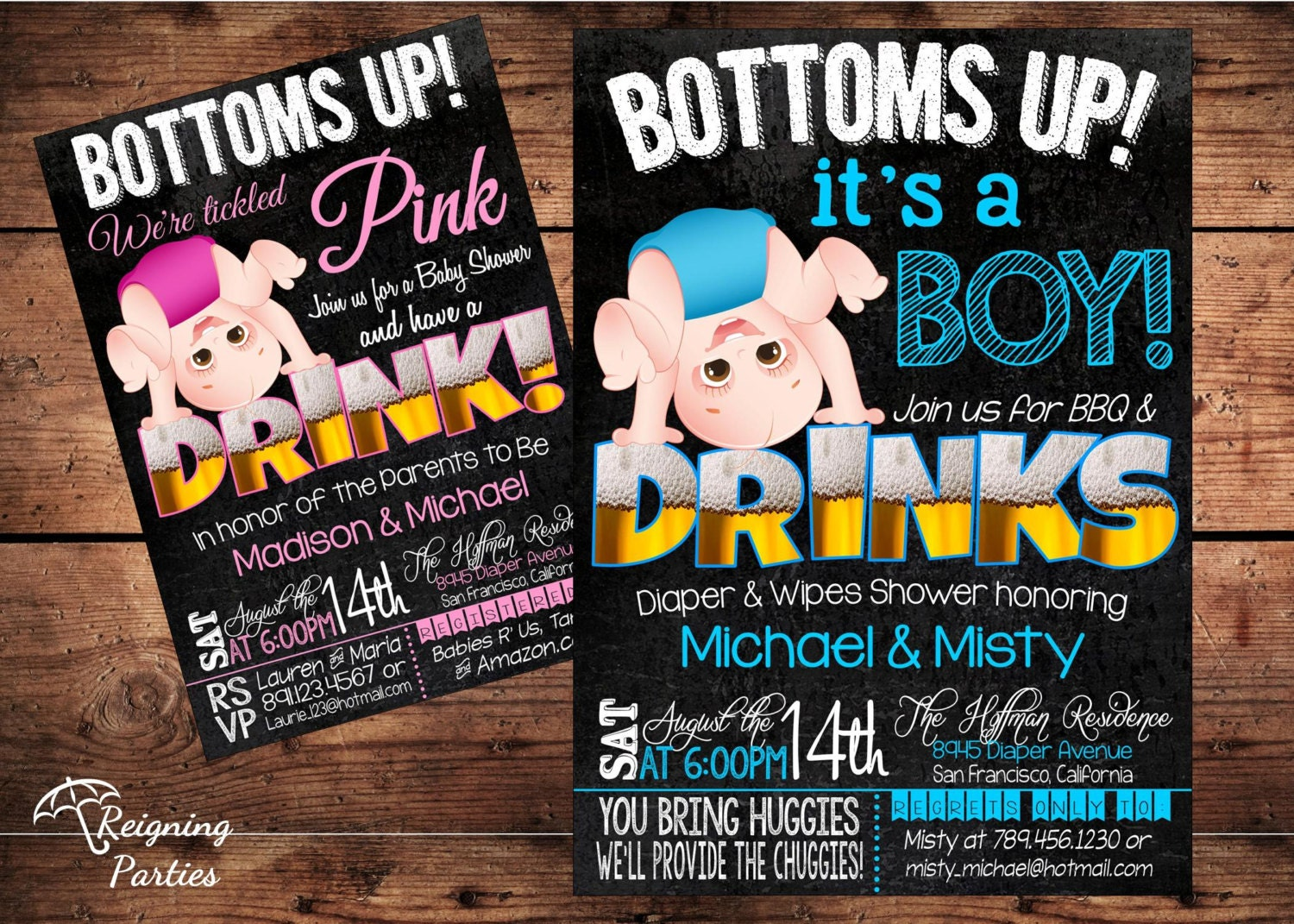 Bottoms Up Baby Shower Invitation Funny Diaper by ReigningParties
