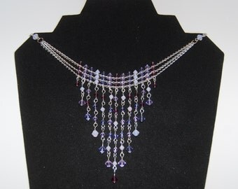 Purple Swarovski Crystal Fringe Dangle Drape Choker Necklace