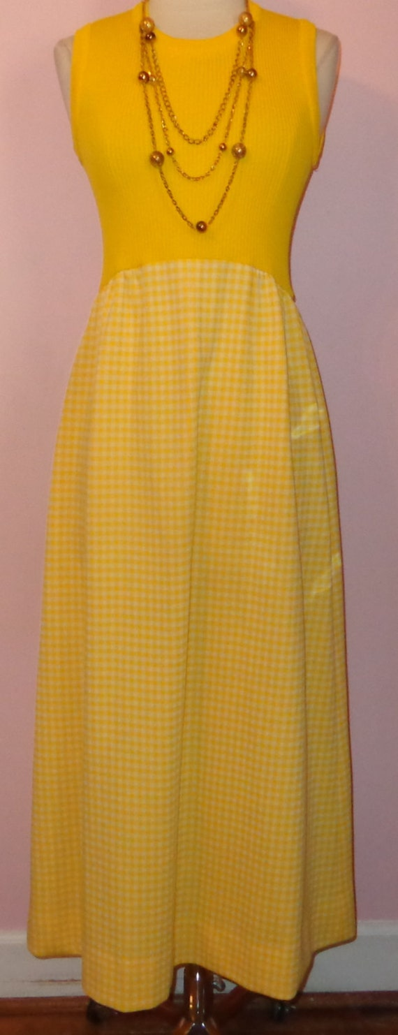 vtg 70s bright yellow ribbed bodice plaid maxi skirt stretchy