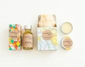 Under the Waves Gift Set - Hair Serum, Owl Soap and Lip Balm - Natural, Handmade, Vegan.
