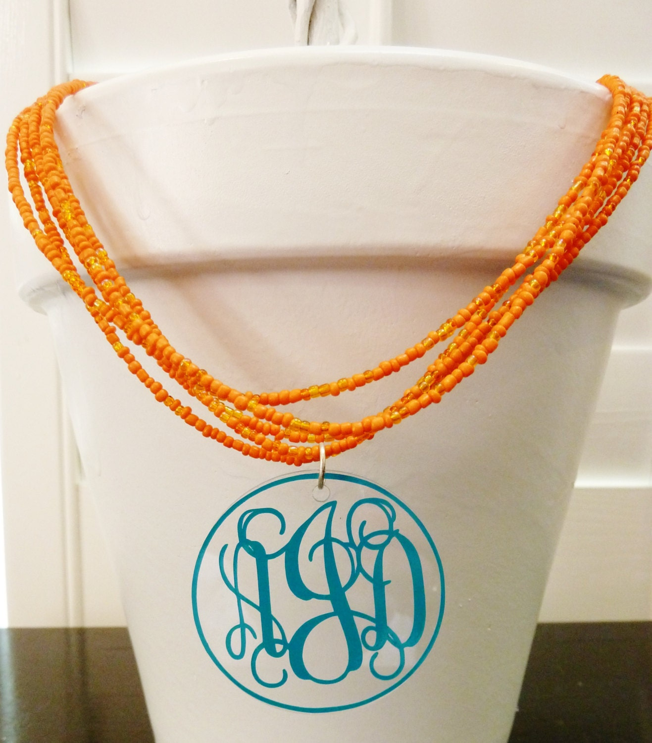 monogrammed necklace  multi strand beaded necklace with