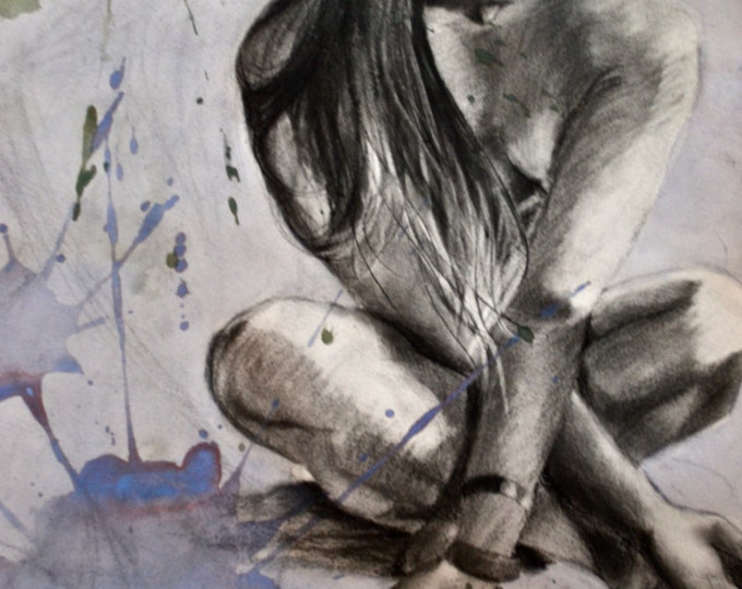 "Original Drawing | Mixed Media Drawing | Charcoal Drawing | Figure Drawing | Original Drawing | 22""x30"" Drawing ""Color Me Down"""
