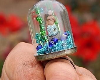 Mermaid habitat aquarium snow globe ring bubble ring terrarium ring snowglobe with seed beads and glitter