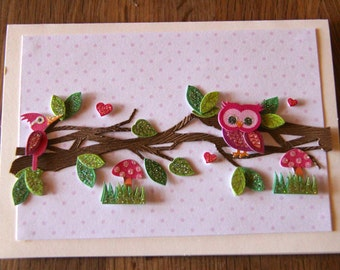 Handmade Cards, Handmade Birthday Cards, Happy Birthday Card, Owl Card, Mother's Day