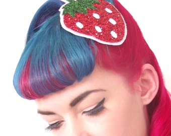 10% off with the code BDAY10  Rockabilly Red Strawberry Glitter Fascinator Hair Clip