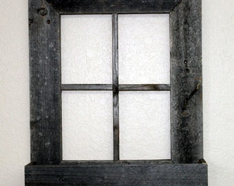 rustic barn wood window frame with flower box