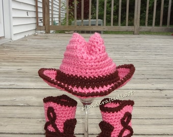Crochet Newborn Baby Cowgirl Cowboy Hat Boots Photo Prop Set Gift Keepsake 0-3,3-6 Months Pink Western Rodeo