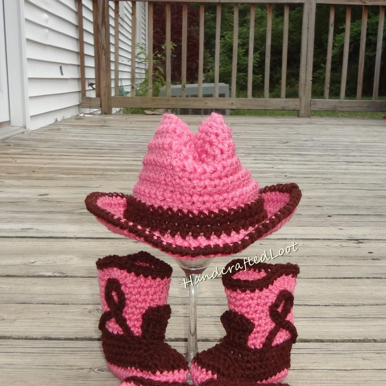 Crochet Baby Cowgirl Pattern : Crochet Newborn Baby Cowgirl Cowboy Hat Boots Photo Prop Set
