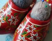 Reserved for Bella--Vintage Dutch Shoe Pair Pincushion
