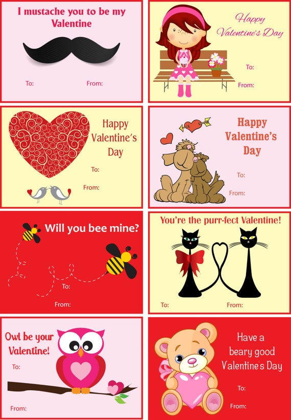 It's just a picture of Breathtaking Printable Childrens Valentines Cards