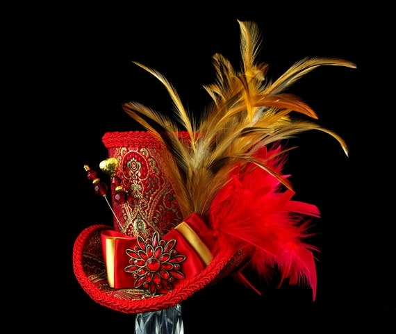Red and Gold Damask Empress Collection Large Mini Top Hat Fascinator, Alice in Wonderland, Mad Hatter Tea Party, Derby Hat