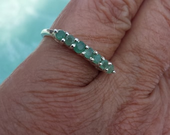 emerald ring size 7 3/4 wedding band 1980's genuine natural UNHEATED UNTREATED vintage estate sterling silver