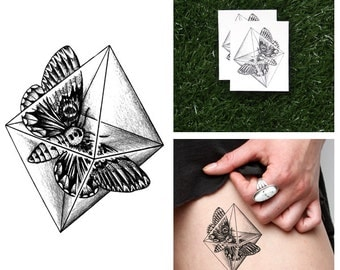 Crystal Moth - Temporary Tattoo (Set of 2)