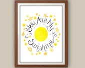 Yellow And Gray Nursery Art - You Are My Sunshine - Nursery Wall Art - Yellow Nursery Decor - Baby Girl Room Decor