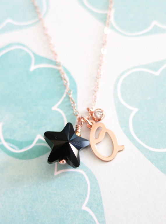 Personalized Lucky Star Necklace - Rose Gold Filled Initial, Swarovksi Star Crystal, Cubic Zirconia Drop, Rose Gold Filled Chain - N0016RG