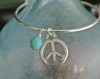Peace bracelet // Adjustable bangle bracelet // Peace charm // wire wrapped turquoise bead