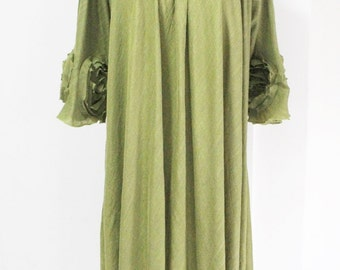 SALE Olive Green Plus Size Top 4X Tunic Pleated Neckline Flowing Hem 3/4 Sleeve