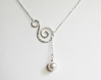 Bridal Necklace, Sterling Silver Pearl Necklace, Lariat Necklace, Hammered Silver Necklace, Swirl Necklace, Mom Necklace, Wedding Necklace
