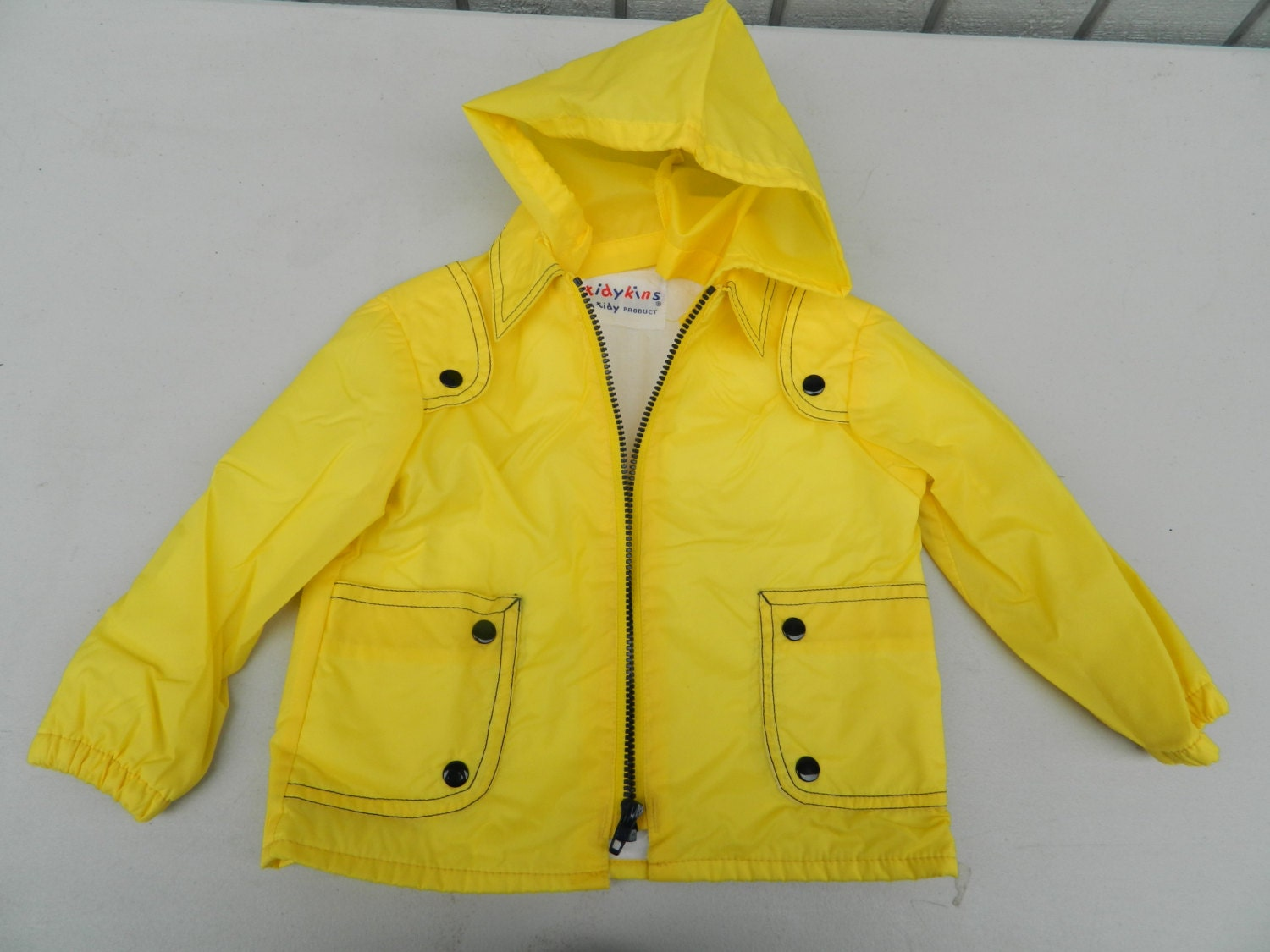 Vintage Yellow Raincoat for Toddler / Bright Yellow Front Zip