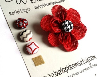 Girls Red Flower Hair Accessory, Girls Flower Headband, Girls Flower Hair Clip