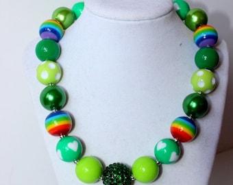 St Patricks Day chunky bead necklace st patricks day rainbow chunky bead necklace chunky bubblegum necklace bubble gum necklace photo prop