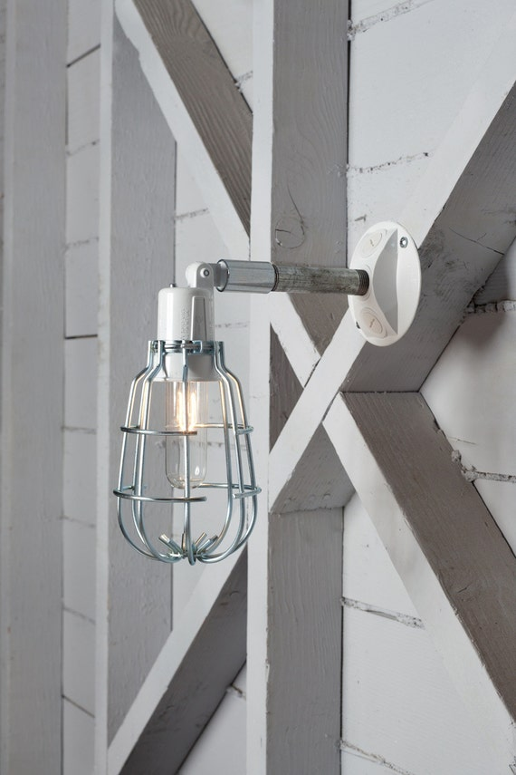 Wall Sconces No Wiring : Industrial Wall Lamp Outdoor Wire Cage Exterior Wall Sconce