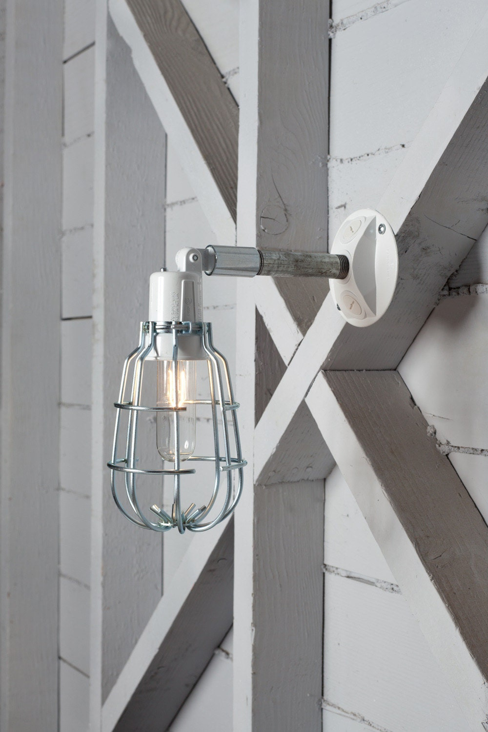 Wall Sconce With Cage : Industrial Wall Lamp Outdoor Wire Cage Exterior Wall Sconce