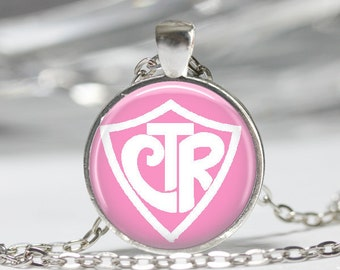 CTR (15 Color Choices) Necklace LDS Mormon Pendant Necklace or Mormon Keyring,  Mormon Pendant Religious Jewelry Choose the right