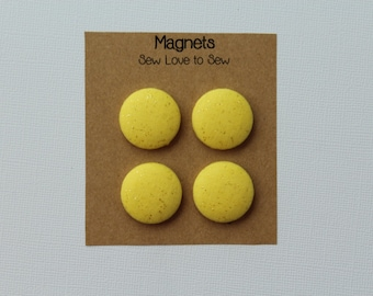 Fabric Covered Button Magnets / Yellow Sparkles / Yellow Magnet / Sparkle Magnets / Refrigerator Magnets