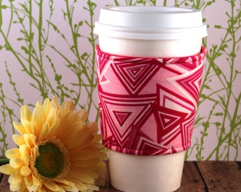 CLEARANCE / Fabric Coffee Cozy / Pink Triangles Coffee Cozy / Pink Coffee Cozy / Triangle Coffee Cozy / Coffee Cozy / Tea Cozy
