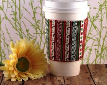 CLEARANCE / Fabric Coffee Cozy / Christmas Coffee Cozy / Holiday Coffee Cozy / Coffee Cozy / Tea Cozy