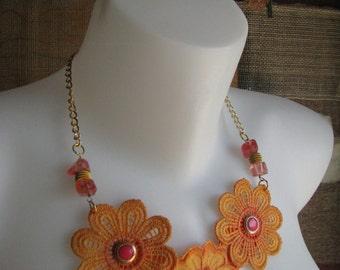 Orange Pink Floral Lace Necklace Jewelry. Lace Collar Bib Necklace. Boho Lace Statement Jewelry. Pendant Necklace