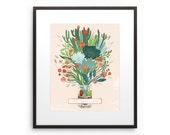 Terrarium Illustration Succulent Cactus Drawing Digital Art Mason Jar Home Sweet Home Wall Art