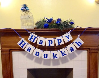 Happy Hanukkah banner decoration sign Hanukkah or Chanukah garland Hanukkah decoration  blue and silver Hanukkah photo prop