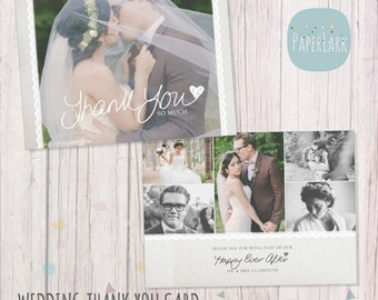 Wedding Thank You Card - Photoshop template - AW020 - INSTANT DOWNLOAD