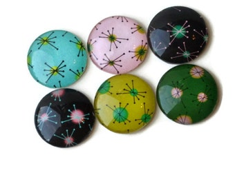 Strong Magnets, Set of 6 Glass Magnets, Starburst, Black, Pink, Blue, and Yellow, Retro Fridge Magnets, 50s Decor, Cute Kitchen Magnets