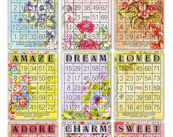 "Digital Romantic Floral Bingo Cards/ nine printable downloadable bingo cards / vintage ephemera  / 5"" by 7"" and 6"" by 4.2"" / Valentine's Day"