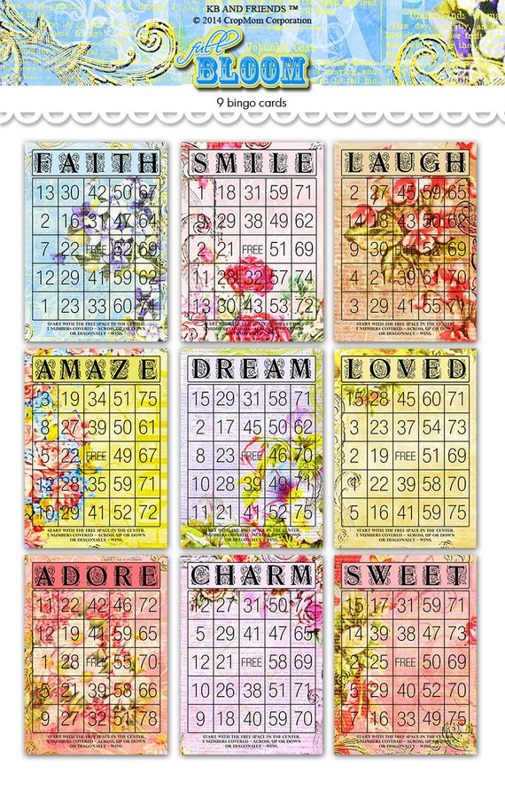 Digital Romantic Floral Bingo Cards by KB and Friends™.