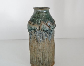 Vintage Pottery Vase Handmade Studio Pottery Heavy Green And Brown Vase With Leaf Detail Circa 1970's